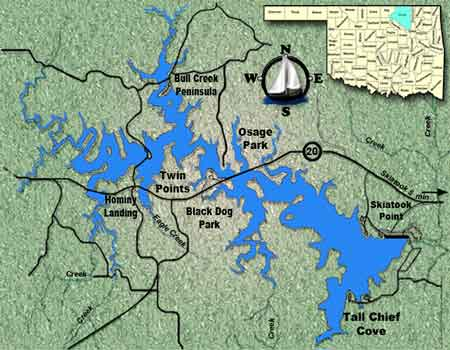 Skiatook Lake Fishing Guide Skiatook Lake OK - Oklahoma map of lakes