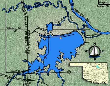 Oklahoma fishing guide map for Lake Sooner.